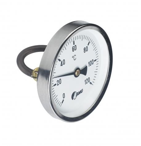 Bimetallthermometer als Anlegethermometer f. Rohre, Nenngröße Ø: 80mm, Messbereich: -10…+50°C, Anzeigebereich: -20…+60°C. Prozessanschluss-Material: Messing, -Montage: m. Spannfeder 60mm, Stahl