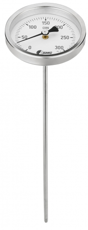 Bimetallthermometer, CrNi, NG63/0 bis+300°C/300mmx4mm