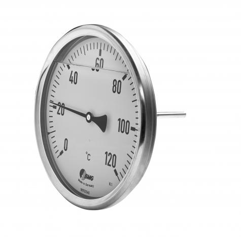 Bimetall-Edelstahlthermometer mit Glycerinfüllung, Nenngröße Ø: 160 mm, Messbereich: -20…+40°C, Anzeigebereich: -30…+50°C. Prozessanschluss-Material: Edelstahl, -Montage: Einschraubschutzrohr