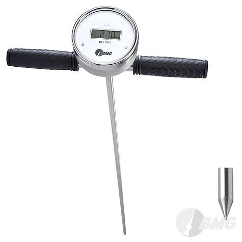 Einstechthermometer, Edelstahl m. verschweisstem Handgriff u. Digitalanzeige, Nenngröße Ø: 100mm, Messbereich: -50…+150°C. Prozessanschluss-Material: Edelstahl, -Montage: Einstichspitze