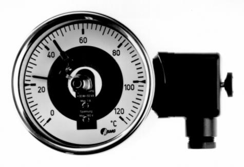 Bimetall-Edelstahlthermometer m. Magnetspringkontakt, Nenngröße Ø: 100mm, Messbereich: 30…+270°C, Anzeigebereich: 0…+300°C. Prozessanschluss-Material: Edelstahl, -Montage: Einschraubschutzrohr