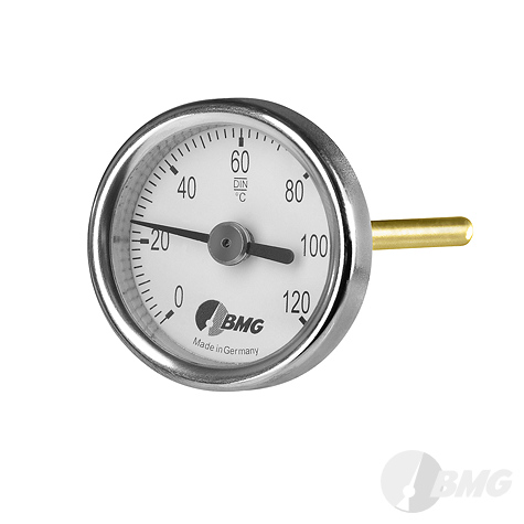 Bimetallhermometer, CrNi/Ms, r, NG 34, 0 bis+120°C, 300 mm