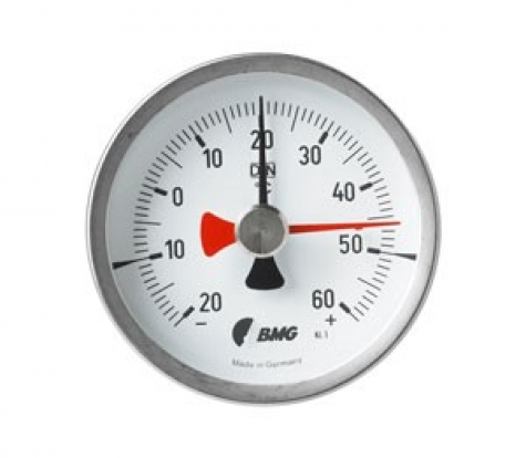 Bimetallthermometer, CrNi/Ms, NG63, 0 bis+300°C/100mm/Schleppzeiger
