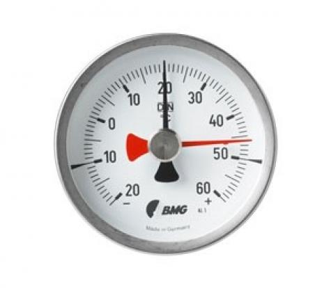 Bimetall-Einschraubthermometer m. Schleppzeiger, Nenngröße Ø: 63mm, Messbereich: +20…+140°C, Anzeigebereich: 0…+160°C. Prozessanschluss-Material: Messing, -Montage: Einschraubschutzrohr