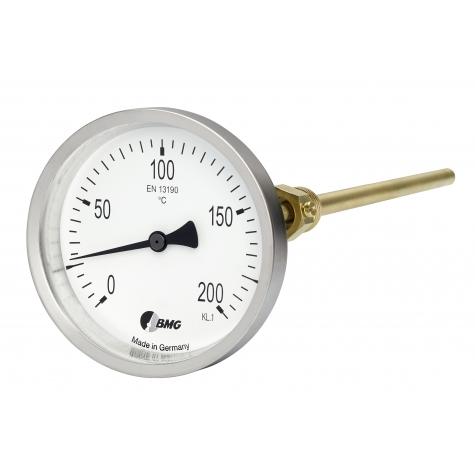 Bimetall-Einschraubthermometer, CrNi-Gehäuse, Nenngröße Ø: 80mm, Anzeigebereich: 0…+200°C. Prozessanschluss-Material: Messing, -Montage: Einschraubschutzrohr