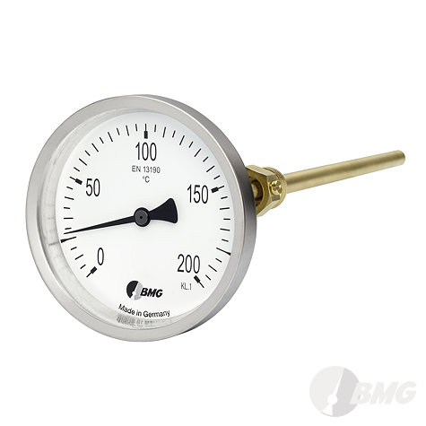 Bimetall-Einschraubthermometer, CrNi-Gehäuse, Nenngröße Ø: 100mm, Anzeigebereich: 0…+60°C. Prozessanschluss-Material: Messing, -Montage: Einschraubschutzrohr