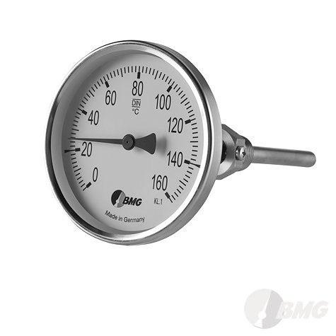 Bimetall-Einschraubthermometer, Industrie, Nenngröße Ø: 100 mm, Anzeigebereich: 0…+60°C. Prozessanschluss-Material: Edelstahl, -Montage: Einschraubschutzrohr