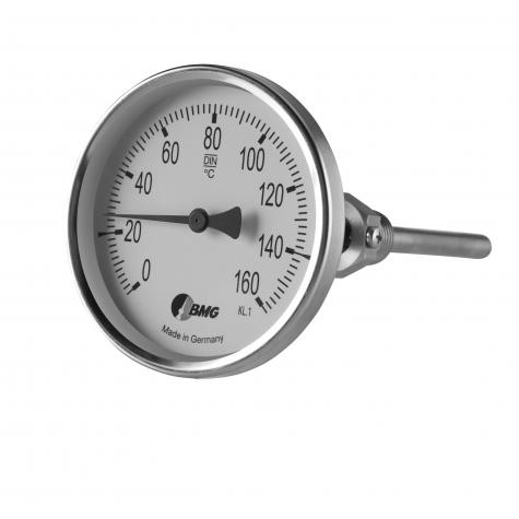 Bimetall-Einschraubthermometer, Industrie, Nenngröße Ø: 100 mm, Anzeigebereich: 0…+160°C. Prozessanschluss-Material: Edelstahl, -Montage: Einschraubschutzrohr