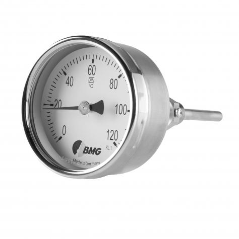 Bimetallthermometer, CrNi, NG63, 0+120°C/150mm,BJR,r,SR
