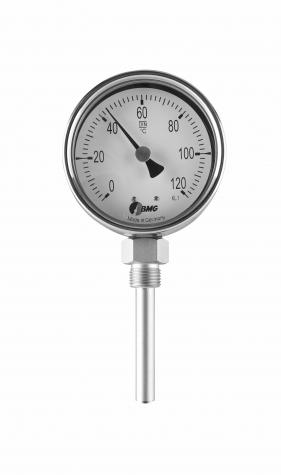 Bimetallthermometer, CrNi/CrNi, NG63, 0 bis+120°C/150mm,BJR,r,SR
