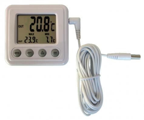 Handmessgerät Labor, Kunststoff, min-max,/-50 bis+70°C/3 m, Werkprüfschein