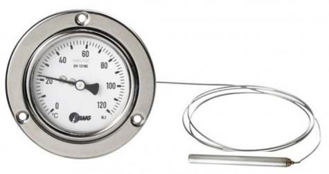 Gasdruckthermometer m. Federmesssystem, Nenngröße Ø: 63mm, Anzeigebereich: 0…+120°C,Prozessanschluss-Material: Edelstahl, vorderer Befestigungsrand