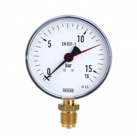 Manometer Ku/Ms, unten, NG 100 mm, 0 bis 1,6 bar,G1-2