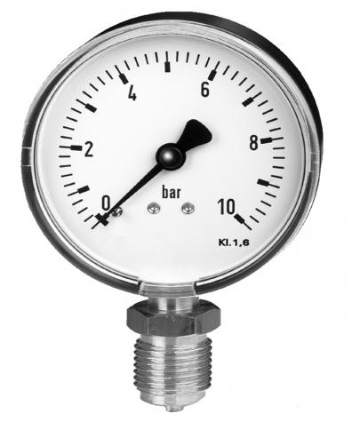 Mano-Vakuummeter Ku/Ms,unten, NG63mm, -1 bis 9 bar,G1-4