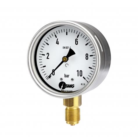 Manometer, Kl.1, CrNi/Ms, u, NG 100 mm, -1 bis 9 bar