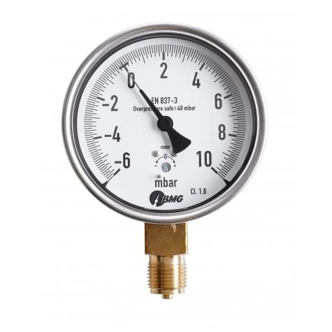 Kapselfedermanometer, CrNi/Ms,u, NG 63, 0 bis 25 mbar