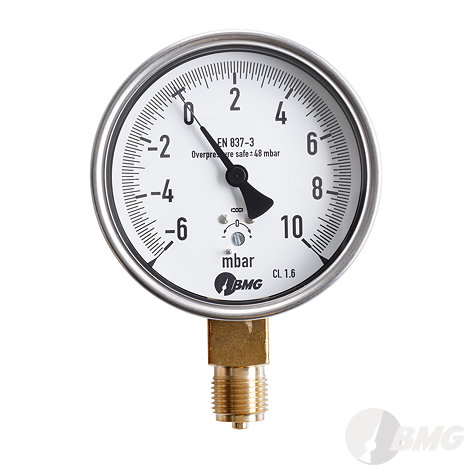 Kapselfedermanometer, CrNi/Ms,u, NG 63,-10+15 mbar