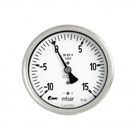 Manometer m. Kapselfeder, Messinganschluss f. kleine Drücke, Nenngröße Ø: 63mm, Anzeigebereich: -100…+150mbar. Prozessanschluss-Material: Messing, -Montage: Einschraubgewinde, rückseitg