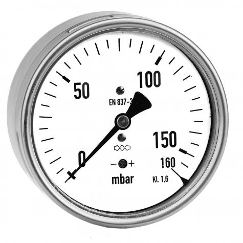 Kapselfedermano., CrNi/CrNi,r, NG 63, 0 bis 100 mbar