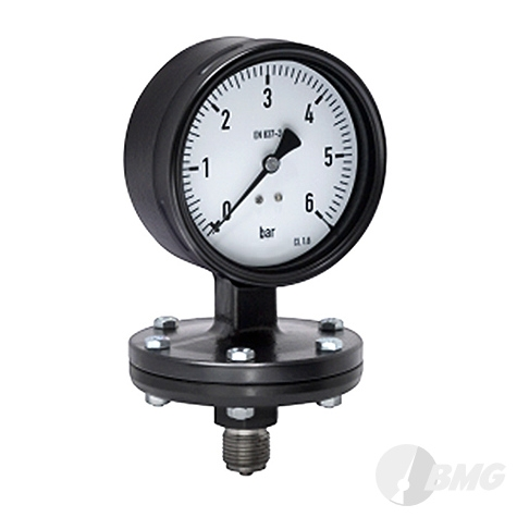 Plattenfedermanometer CrNi/St, NG 100, 0 bis 6 bar