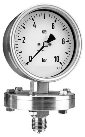 Manometer mit Plattenfeder, Glycerinfüllung, Nenngröße Ø: 100mm, Anzeigebereich: 0…16bar. Prozessanschluss-Material: Stahl verzinkt, -Montage: Einschraubgewinde