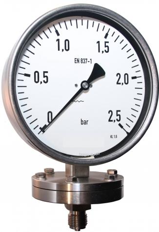 Manometer mit Plattenfeder, Glycerinfüllung, Nenngröße  Ø: 160mm, Anzeigebereich: 0…16bar. Prozessanschluss-Material: Stahl verzinkt, -Montage: Einschraubgewinde