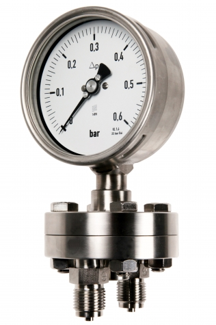 Differenzdruckmanometer Edelstahl 160 mbar