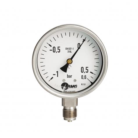 Manometer,Kl.1, CrNi, u, NG 100 mm, -1 +15 bar,G1-2