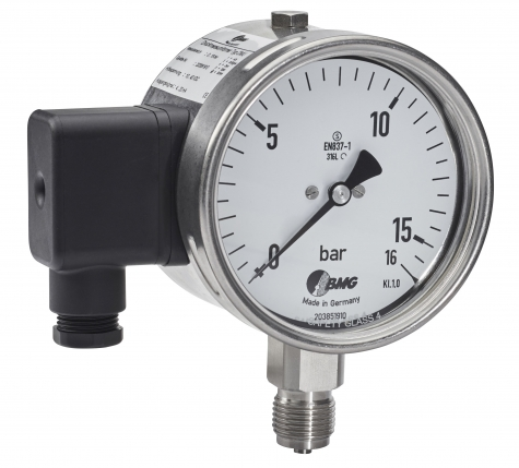 Druckmessgerät als Rohrfedermanometer in Edelstahl mit Druckmessumformer