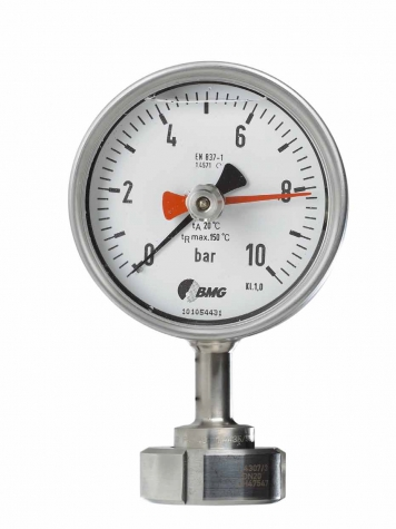 Rohrfeder-Manometer mit Glycerinfüllung, MB 0...16 bar, Druckmittler Nutmutter DIN 11851, Nenngröße Druckmittler 50 mm
