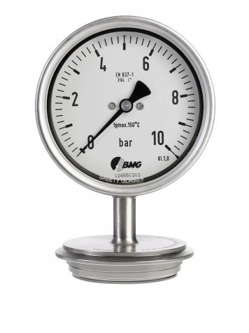 """Edelstahl-Rohrfeder-Manometer, 0...16 bar, mit Druckmittler Triclamp 2"""""""