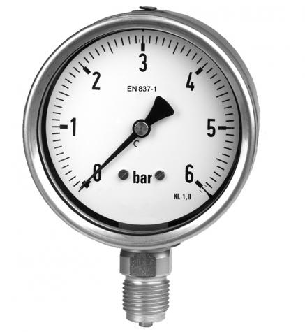 Manometer m. Rohrfeder, Edelstahlanschluss, Industriestandard, Nenngröße Ø: 100mm, Anzeigebereich: -1…0bar. Prozessanschluss-Material: Edelstahl, -Montage: Einschraubgewinde