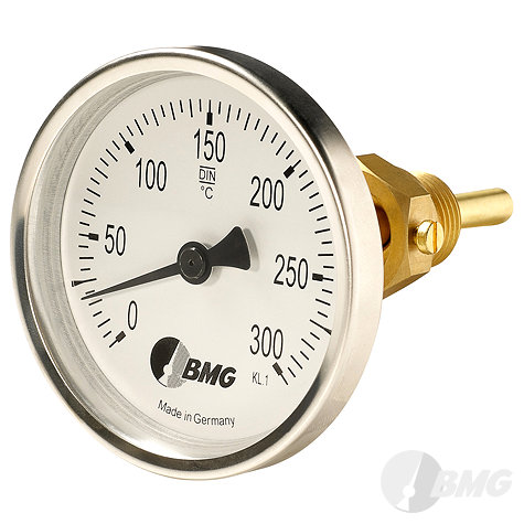 Bimetall-Einschraubthermometer, Standard, Nenngröße Ø: 80mm, Anzeigebereich: -30…+50°C. Prozessanschluss-Material: Messing, -Montage: Einschraubschutzrohr