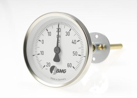 Bimetallthermometer f. Lüftungstechnik u. Klimatechnik, Nenngröße Ø: 63mm, Anzeigebereich: -10…+30°C. Prozessanschluss-Material: Stahl verzinkt, -Montage: Feststellflansch