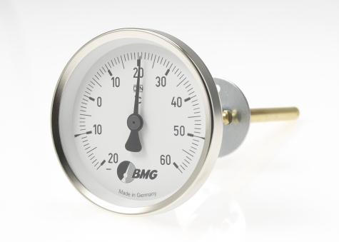 Bimetallthermometer f. Lüftungstechnik u. Klimatechnik, Nenngröße Ø: 63mm, Messbereich: -10…+50°C, Anzeigebereich: -20…+60°C. Prozessanschluss-Material: Stahl verzinkt, -Montage: Feststellflansch