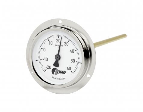 Bimetallthermometer m. Flansch f. Luftkanalbau, Nenngröße Ø: 100mm, Anzeigebereich: 0…+60°C. Prozessanschluss-Material: Stahl vernickelt, -Montage: Frontflansch