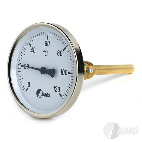 Bimetallthermometer, St/Ms, rückseitig, NG63/0 bis+120°C/40mm