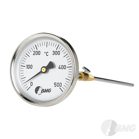 Bimetallthermometer, St/Ms, NG80/0 bis+500°C/150mm, Konus