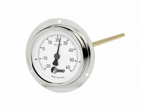Bimetallthermometer m. Flansch f. Luftkanalbau, Nenngröße Ø: 100mm, Messbereich: -10…+50°C, Anzeigebereich: -20…+60°C. Prozessanschluss-Material: Stahl vernickelt, -Montage: Frontflansch
