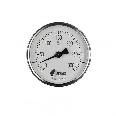 Bimetallhermometer, St/Ms, NG80/0 bis+200°C/4 Magnete/temp.Glas