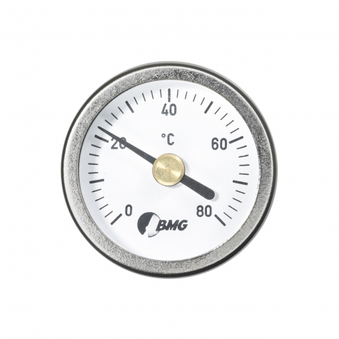 Aufsetzbimetallhermometer, Ms/Ms, /NG34/0 bis+80°C