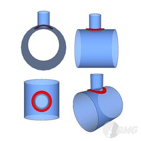 Verstärkungspad zur Stabilisierung des Rohrausschnittes, oval/rund, nach Kundenangabe, nach Zeichnung