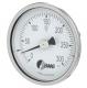 Bimetallthermometer m. Edelstahlgehäuse, Nenngröße Ø: 80mm, Messbereich: 30…+270°C, Anzeigebereich: 0…+300°C. Prozessanschluss-Material: Messing, -Montage: Einschraubgewindestück