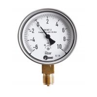 Kapselfedermanometer, CrNi/Ms,u, NG 63, -25 bis 0 mbar