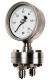 Differenzdruckmanometer m. Plattenfeder, Edelstahlausführung, Nenngröße Ø: 100mm, Anzeigebereich: 0…160mbar. Prozessanschluss-Material: Edelstahl, -Montage: Einschraubgewinde