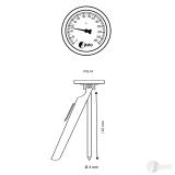 Bimetallthermometer, CrNi/CrNi, rückseitig, NG63/0 bis+300°C/300mmx4mm/Spitze